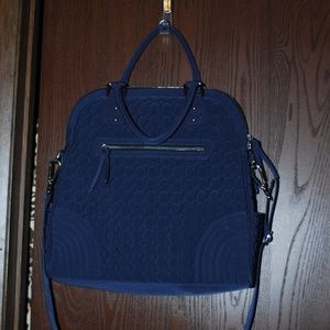 Vera Bradley Navy Blue Quilted Large Bag - EUC